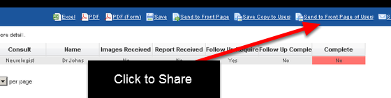 """3.2 On the reports page, click on """"Send to Front Page of Users"""""""