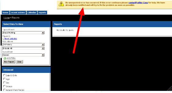 2.6 Unexpected Error: An example of what happens when the user loads a shared Report when they do not have access to the Event Form used to create the report. They need to delete the report (see the step below).