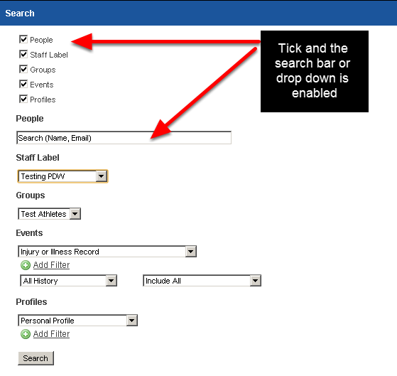 2.0 In the Search Module users can search through names, e-mails, groups, staff, event and even profile data to find a user, or a group that a user is in
