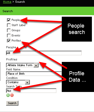 """8.0 Profile Data can be used in the same way as Event Data to enhance the search when looking for a user. In this example we are searching for an athlete named Will who had an Australian accent.  We then set up a Profile search for place of birth (as shown here) in addition to the """"will"""" people search."""