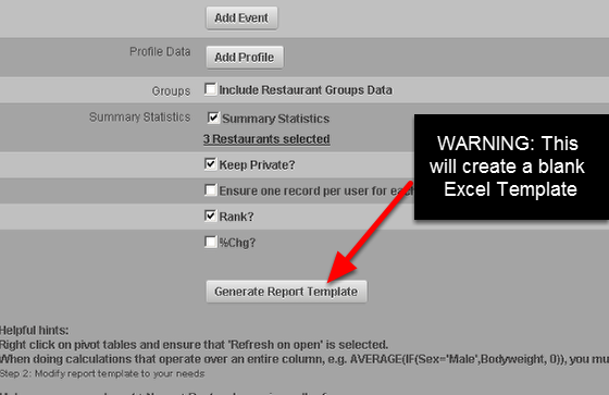 """You can generate a new BLANK template by clicking """"Generate Report Template"""". This will generate a BLANK template for you. Alternatively, you can select """"Test Report"""" to have an export of the original template with the new settings (most users will need this- see the step below)"""