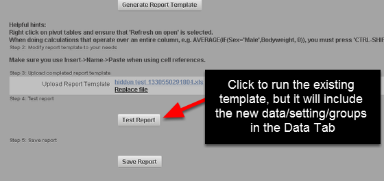 """Click on """"Test Report"""" to access your Existing Excel Report template. You will be able to open and update"""