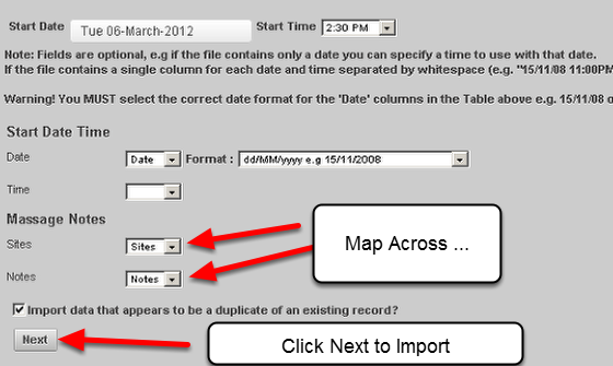 When you import data into the system, this data is recognised as new data. This means any Performance Alerts set for that Event Form's Data will be fired. Now, when you select to import Data (as shown here), you can turn off the Performance Alerts