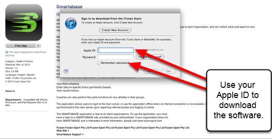 You will be required to login to your Apple account to download the software. The example here shows the Smartabase application being download from the iTunes store.