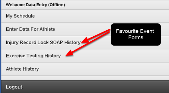 N.B. Any Event Forms that are saved as favourites will appear on the Home Page. You can click directly on them to go to the History for these Event Forms for an Athlete