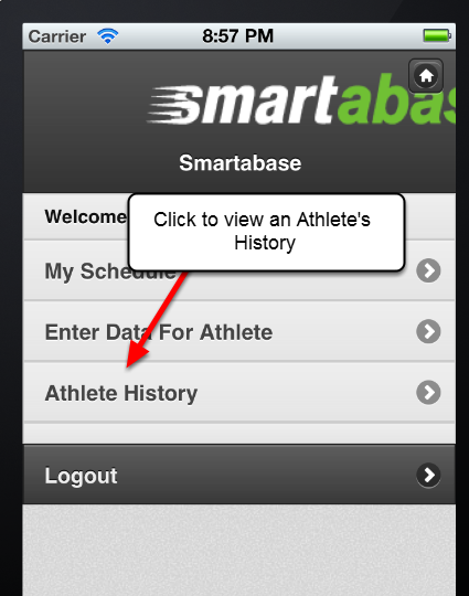 You can view an Athlete's History for any of the athletes and Event Forms that you have access to.
