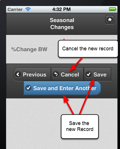 "When you have finished entering in data, click on ""Save"" to Save and Close the Record. Click on ""Save and Enter Another"" to save the new record and choose another type of Event Form to enter. You can Cancel the record if you do not want to save it."