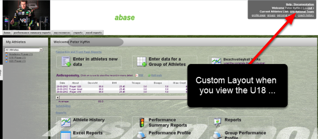 Once a Group is added to a Page layout (e.g the U18 Page Layout), any Professionals that access that group will be shown that Page Layout ONLY when they load that specific Group of athletes or a Subgroup of that Group.