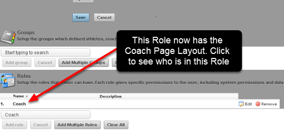 In this example, the Coach Page Layout will be added to the Coach Role
