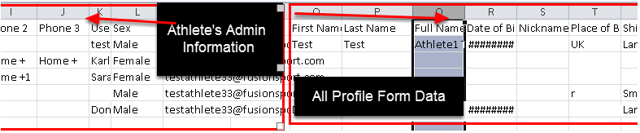 The file will consist of all of the athlete's administration details (name, address, e-mail ,sex) and then the subsequent columns will be all of the Profile Page Fields for the Specific Profile Page that you ran the download for