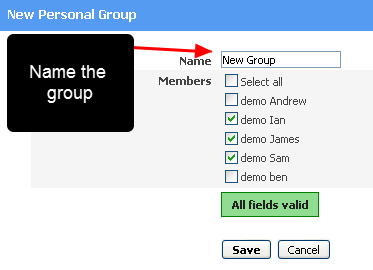 """Name the New Group,  tick the Athletes, Click """"Save"""""""