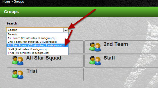 """To load a group using the Search Module, click on the """"Search"""" dropdown. Select any of the groups that appear."""