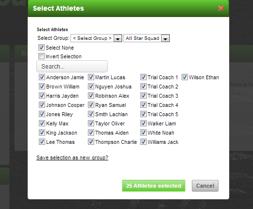 All of the existing modules will allow you to view, enter and produce reports for that group of athletes. For example, selecting the athletes on the Reports page.
