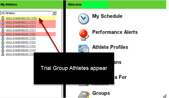 The Enter Data for athlete page, the Sidebar, Reports etc will ONLY show the athletes in the group that you are currently viewing