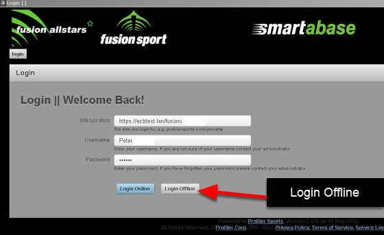Login on the installed version of the software offline