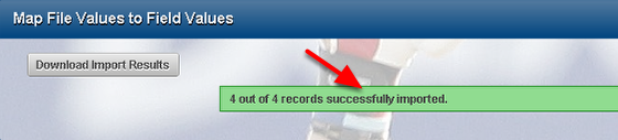Import Success. Notification of a successful import