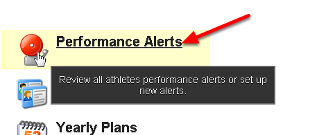 To remove any triggered alerts from the Athlete History Pages (and from the Activated Performance Alerts Page) click on the Performance Alerts Module