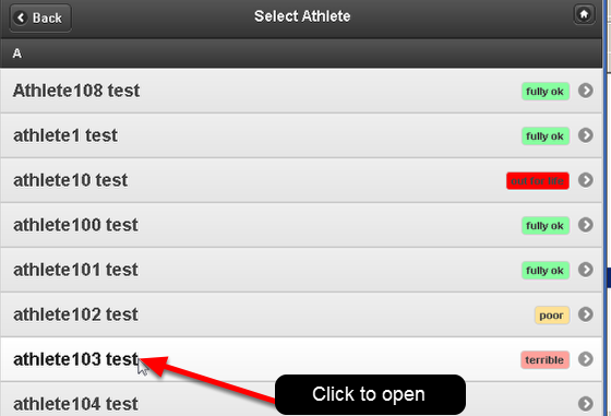 Next, click on the athlete's name that you need to update the Medical Record for