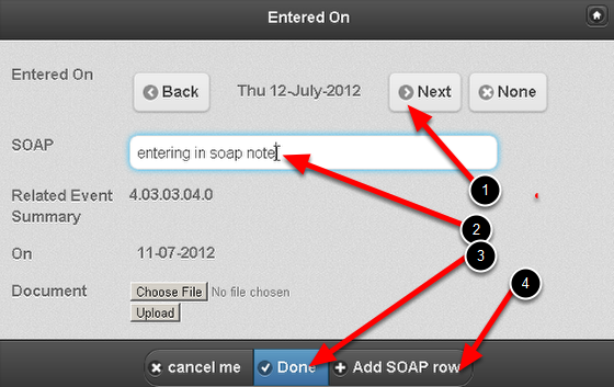Choose the Date for the SOAP note, and enter in the relevant information. This is a generic SOAP note example. Your SOAP notes may contact separate fields for subjective, objective etc