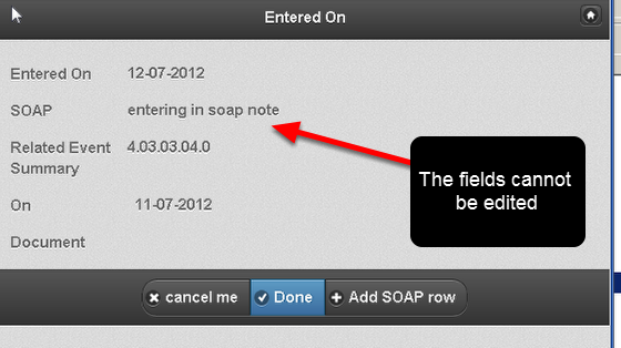 If your system is set to lock the rows in your SOAP table. If you open the injury record and view the SOAP note after the row has been locked you will not be able to update it (as shown here)