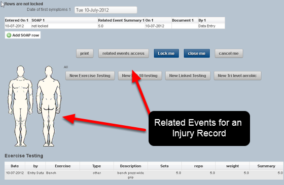 Some Medical Records and Data Event Forms are set up with Related Events. Related Events appear for entry at the bottom of any Event Form (as shown here) on the main system