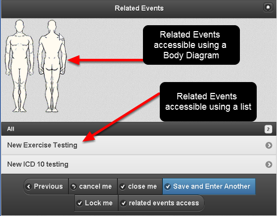 Depending on the way the Related Events are set up on your system, you might access them through a body diagram, through a list, or through both (as shown here).