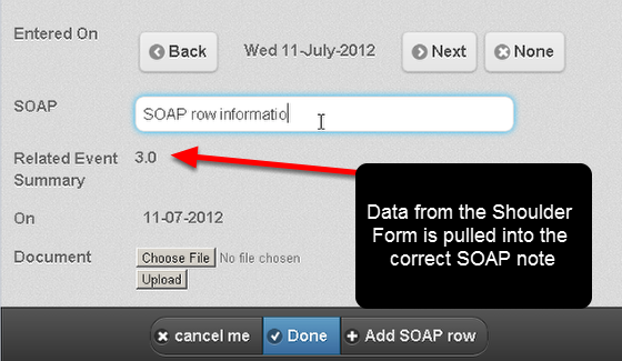 N.B. If you have a table where information from any Related Events is pulled back into the table then this will work online on the iPad/iPhone version (e.g. in a Medical SOAP table).