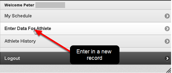 To enter new data into the system click on the Enter Data for Athlete button