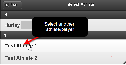 Now choose the other athlete/player (as shown here) and choose the type of Event you want to enter (e.g. Talent Scout Example)