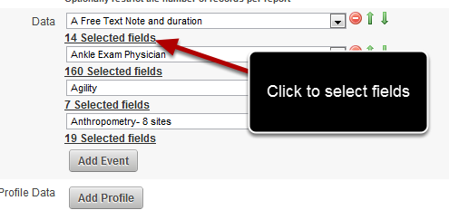 """To de/select the fields click on the """"14 Selected Fields"""" link directly underneath the Event Form Name"""