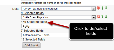Next, we will reduce the number of fields selected for the Ankle Exam. Click on the 160 fields selected