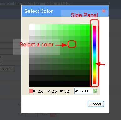 Select or Change the Color of the Cycle