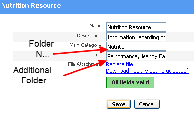 Adding a Resource to a Folder