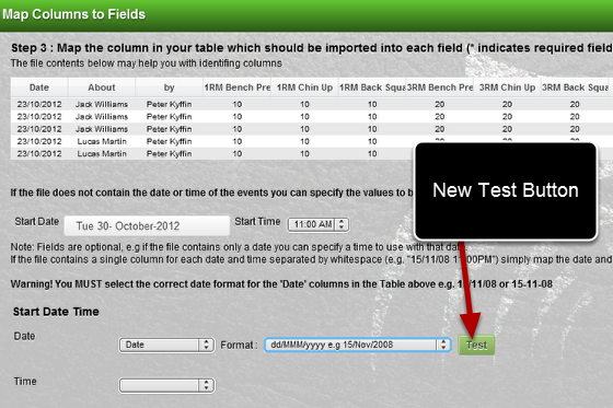 There is now a new Test button to help you map across the date fields accurately