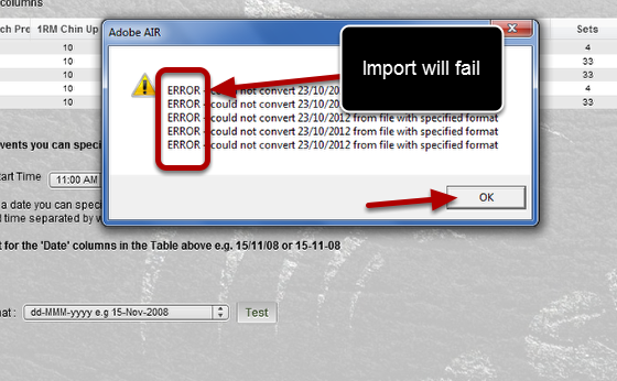 """If the message says """"ERROR - Could not convert"""" then you MUST select a different date format or your data won't import"""