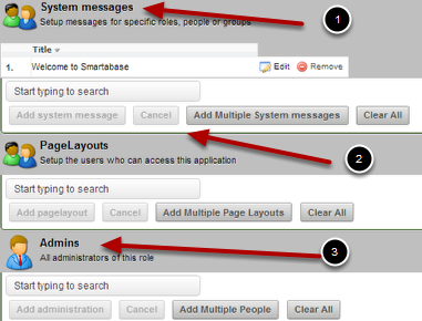 The Messages, Page Layouts and Admins are then listed