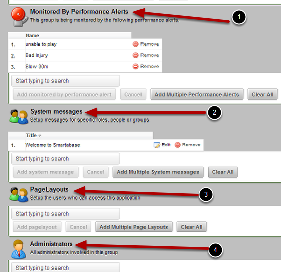 The Performance Alerts, Messages, PageLayouts and Admins are then listed