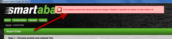 """""""Error please ensure all columns names are unique"""". A column name is duplicated on the file you are importing and the system will specify which columns they are"""