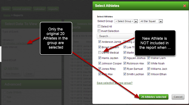 If a new Athlete was added to the Group, they would NOT automatically be included when the Saved report was loaded  (e.g. the new Medical Demo Athlete is not ticked)