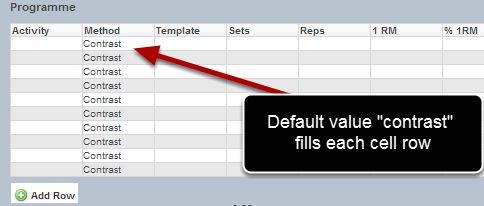 If a default value is set in a table, the default value will appear for that field in every row of the table.
