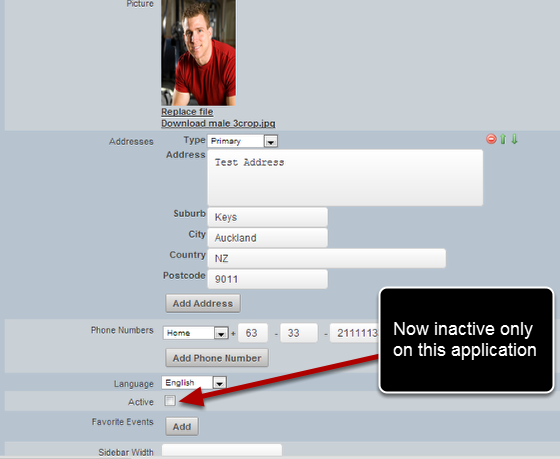 However, if you make them inactive, they are made inactive across ALL applications that are a user on
