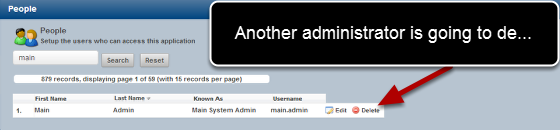 For every system there is one primary Administrator for that application. This person now cannot be removed by any other users
