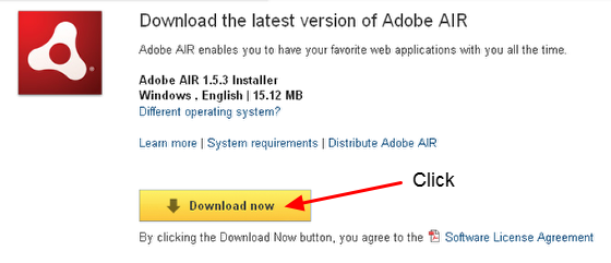 """8.1 The Adobe AIR program will open in a new Window/Tab. Click the """"Download"""" button"""