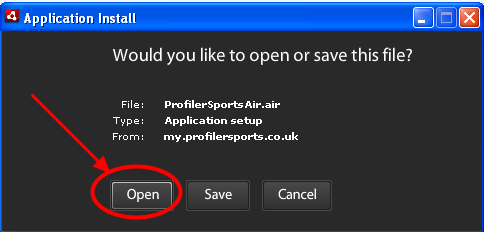 """3.1 The application will install, then click """"Open"""""""