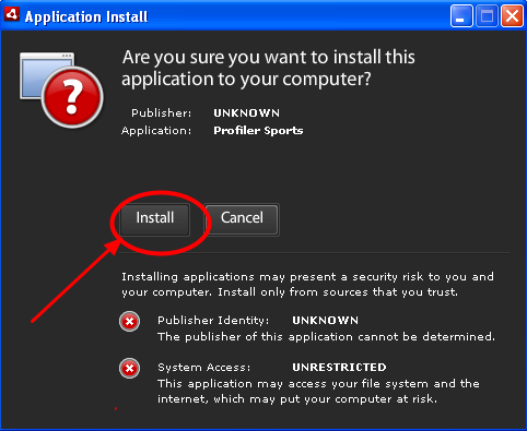 """3.2 In the Application Install window, click """"Install"""""""