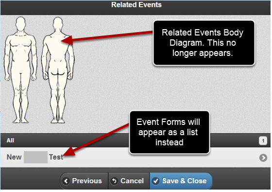 The Related Events Body Diagram used to be available on the Mobile Application but it has been disabled