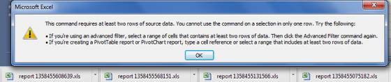 N.B. Excel Pivot tables/charts will NOT work correctly if no data exists to reference
