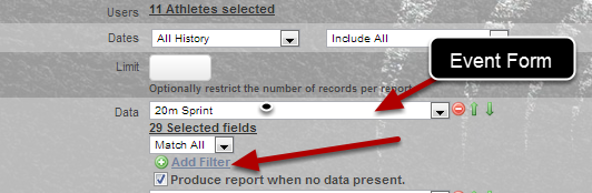 To add a filter, click on the Add Filter button underneath the Event Form