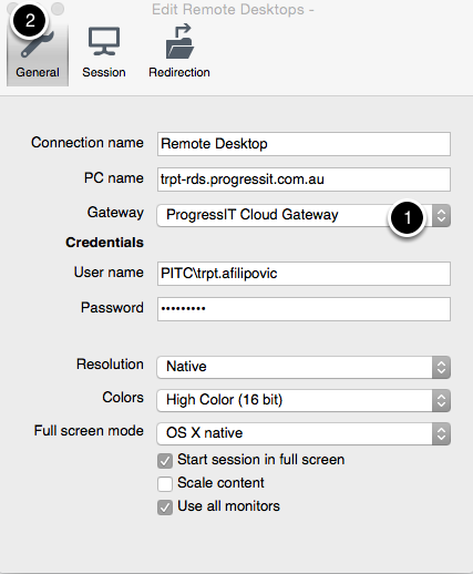 Ensure the gateway is selected for your connection