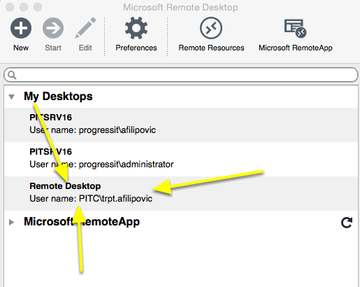 Double click on your new connection to Remote Desktop to your Cloud Server